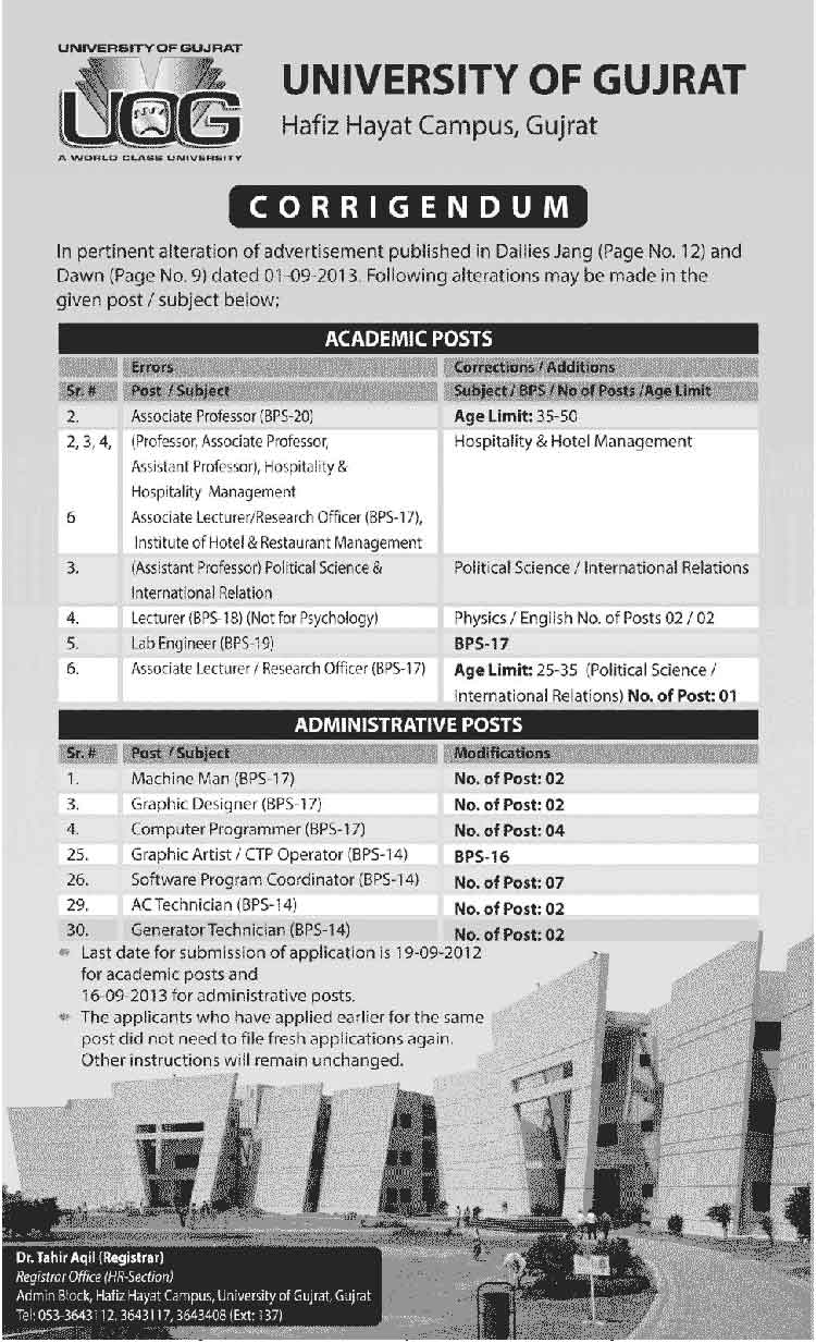 Jobs in University of Gujrat Hafiz Hayat Campus Careers