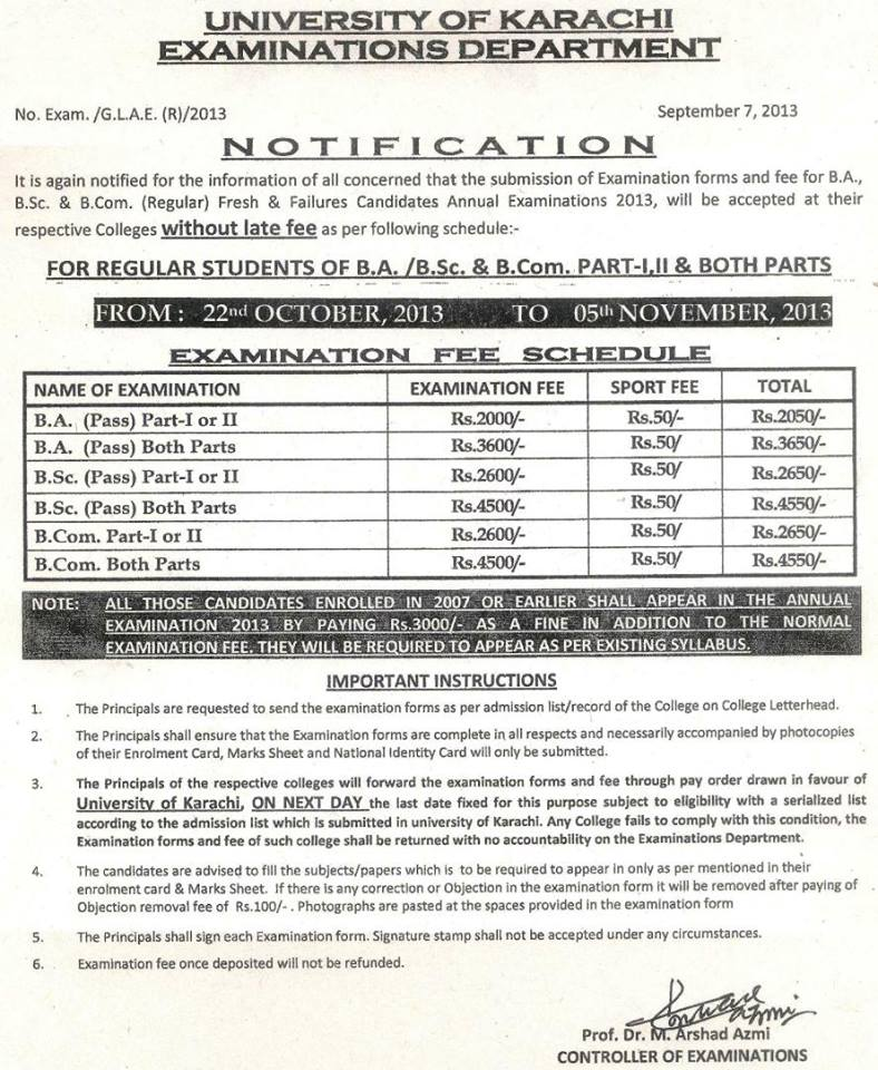 B.A BSc B.Com Examination forms by University of Karachi