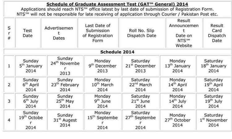 Schedule-of-Graduate-Assessment-Test-2014