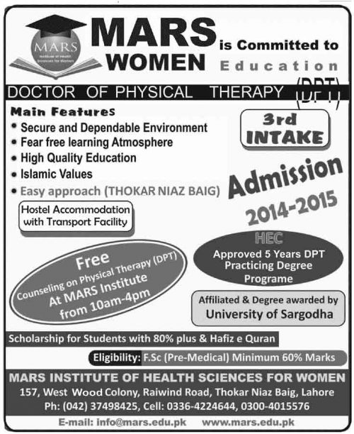 Doctor of Physical Therapy Dpt Admissions in MARS Institute