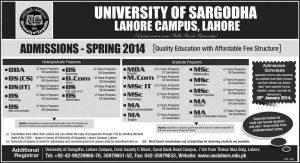 University-of-Sargodha-Admission-2014