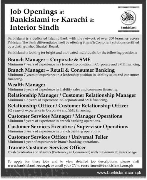 Job Opening at Bank Islami for Karachi Sindh