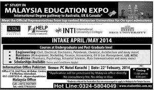 4th Study in Malaysia Education Expo 2014 Karachi