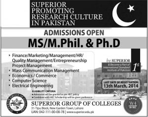 MS M phil Admission Open in Superior Group of Colleges