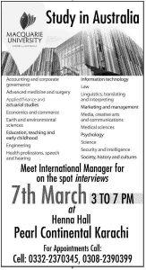 Studies in Australian Macquarie University for Pakistani Students