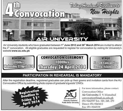 4th Convocation 2014 Air University Islamabad