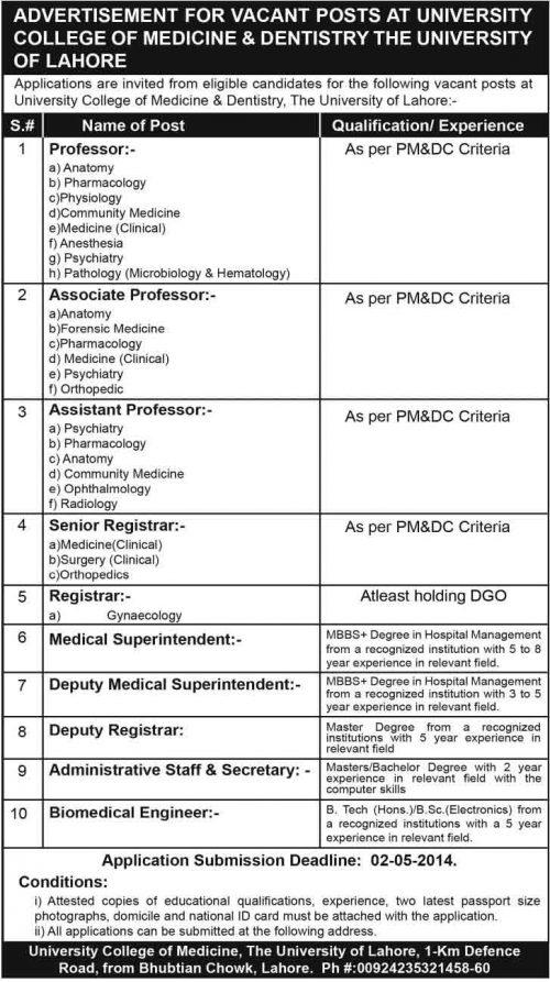 University-Lahore-Jobs-2014
