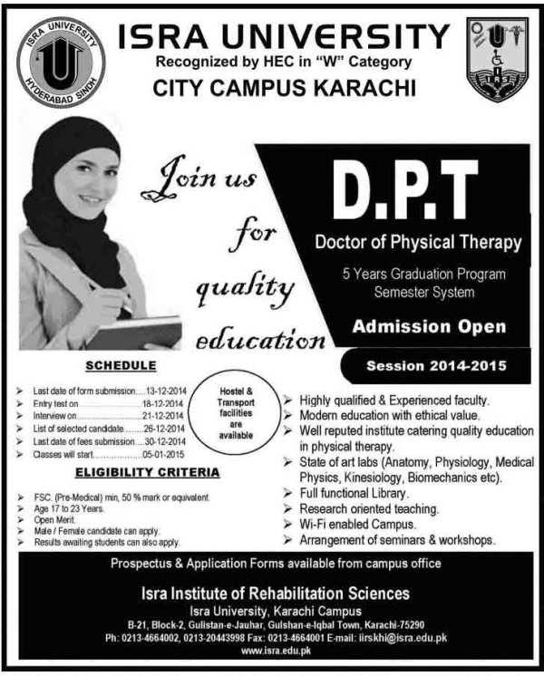 DPT-Admissions-in-Isra-University-Karachi