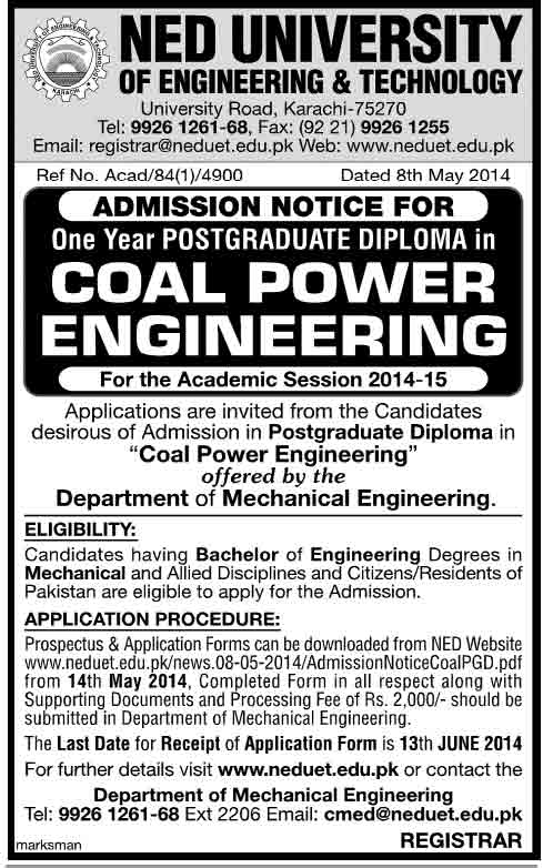Coal Power Engineering one Year Postgraduate Diploma Offered by NED University
