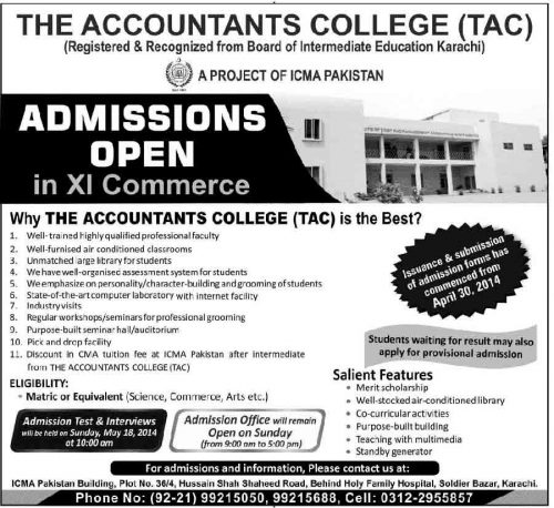 1st Year Admissions Open in The Accountants College Karachi