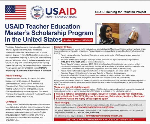USAID Teacher Education Master's Scholarship Program 2016