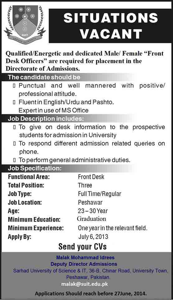 Sarhad University Peshawar Jobs of Front Desk Officers