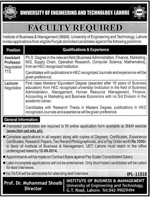 Professor Jobs in University of Engineering and Technology Lahore
