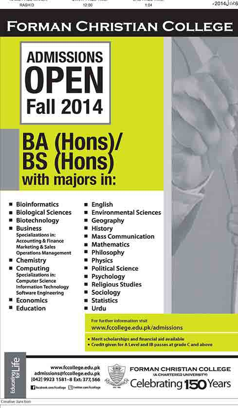 Admissions Open in FC College Lahore BA, BS Hons