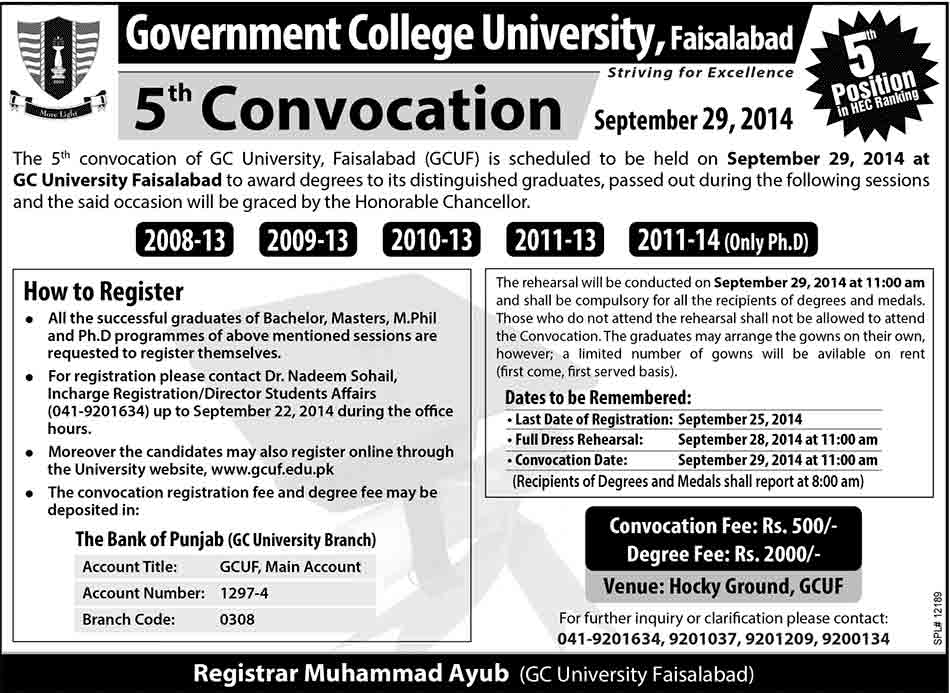 GC University Faisalabad 5th Convocation 29 September 2014
