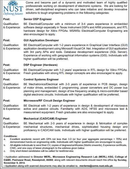 Engineering Career Opportunities At Ceme Nust
