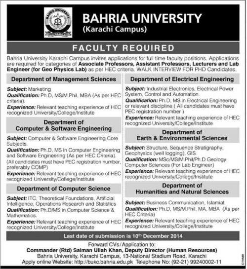 Jobs-in-Bahria-University-Karachi