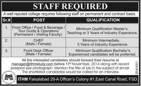 ithm-faisalabad-jobs-2014