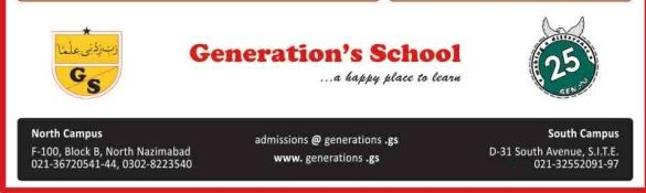 Generation's School Karachi Admission 2018 Fee Structure