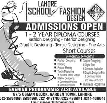 Lahore School Of Fashion Design Admission 2020 Short Programs