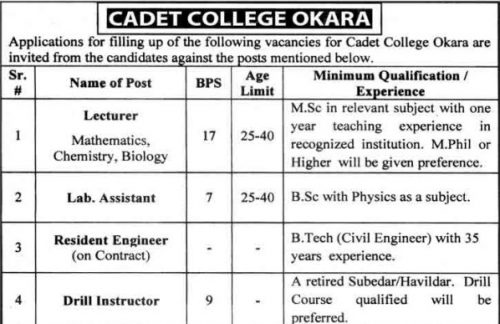 Cadet-college-jobs-2018