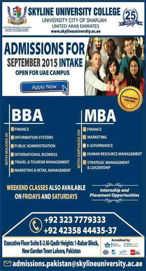 Skyline University College Admissions 2015 Open in UAE Campus