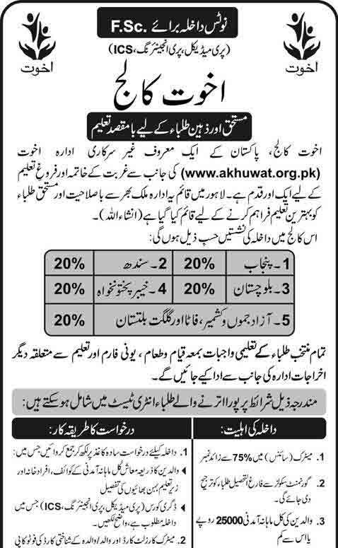 Akhuwat college Lahore Admission 2018 Last Date Scholarship Scheme