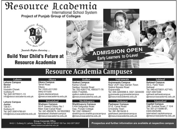 Resource Academia School Pakistan Admissions 2017 fee structure