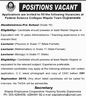 jobs-in-wapda-gujranwala
