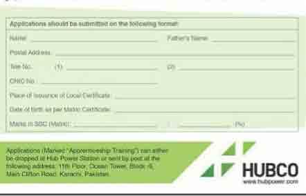 Hubco Power Apprenticeship Training Scheme 2018 Form