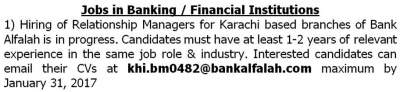 Relationship Manager Jobs in Karachi Bank Alfalah Branches