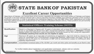 SBP Careers 2018 Statistical Officers Training Scheme for Assistant Directors