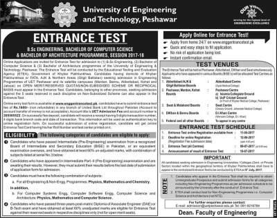 UET Peshawar Entry Test Date