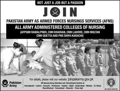 Pak Army Jobs for Females 2019 Armed Forces Nursing Services