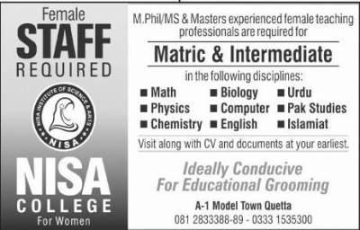 NISA college for Women Job