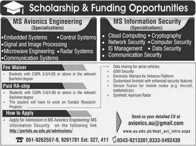 Air University Scholarships 2018 MS leading to PhD programs