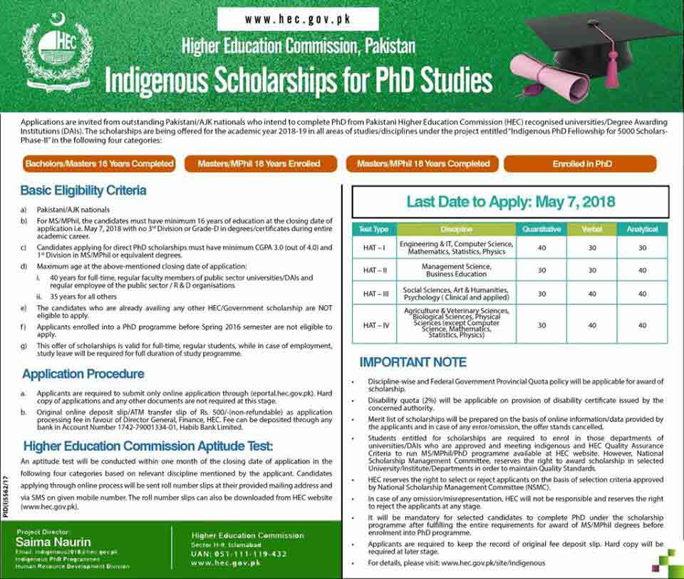 HEC Indigenous PhD Scholarships