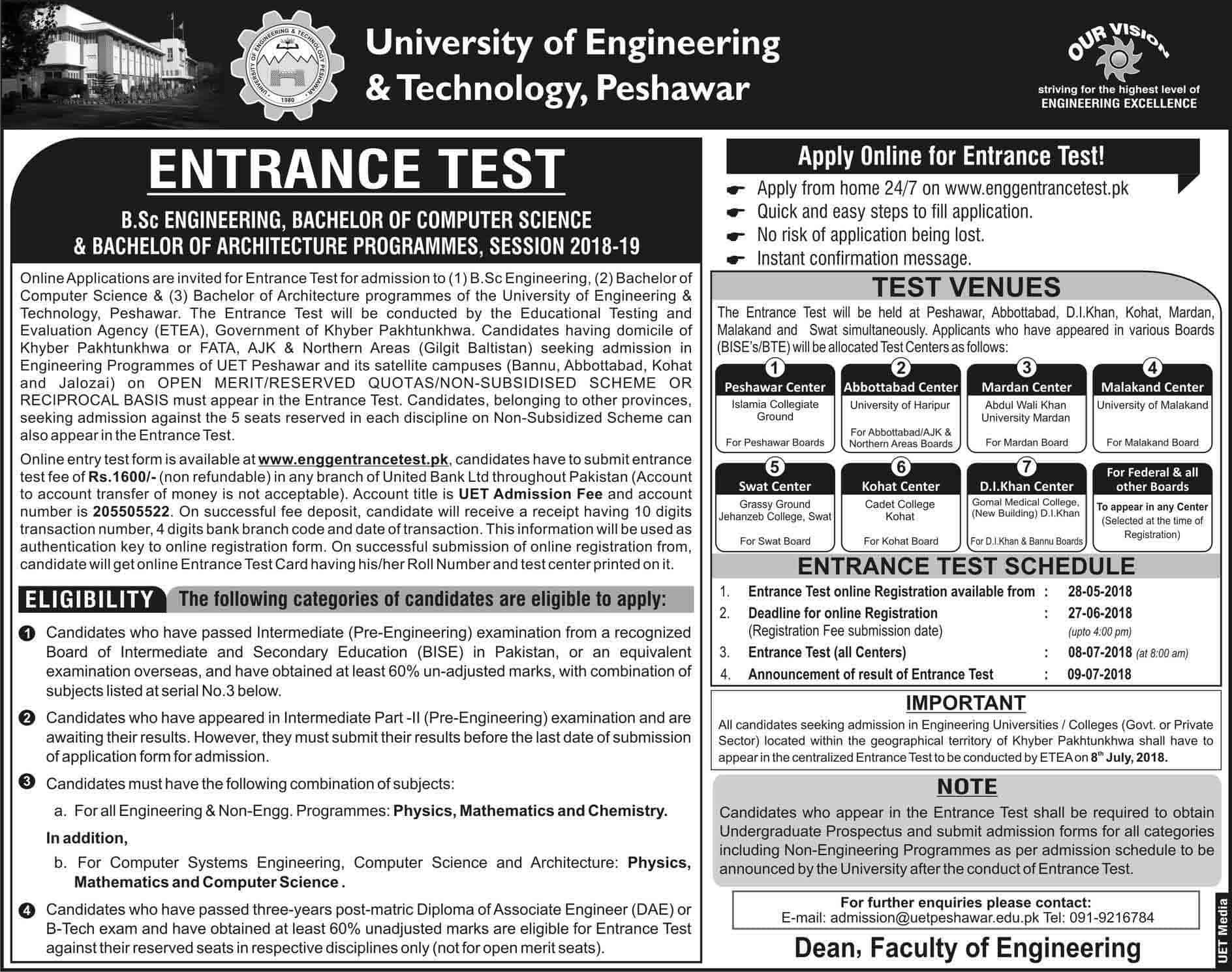 UET Peshawar ECAT Entry Test Result