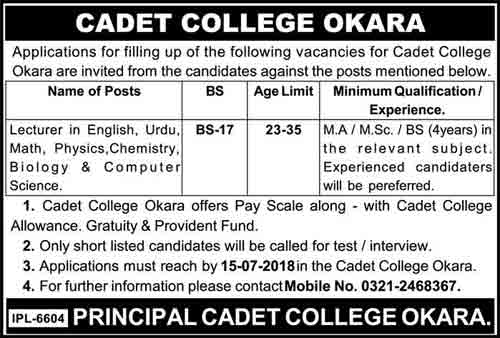 Cadet College Okara Jobs 2018 for Lecturer Latest opportunities