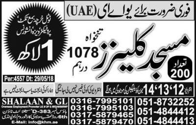 Jobs in UAE Masjid Cleaner