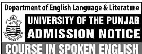 Spoken English Course in Lahore Admission Notice Punjab University
