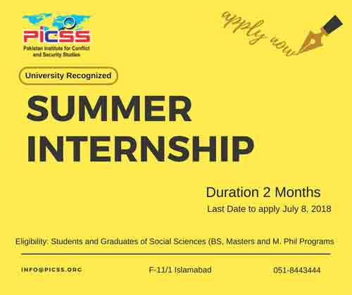 PICSS Islamabad Summer Internship Program