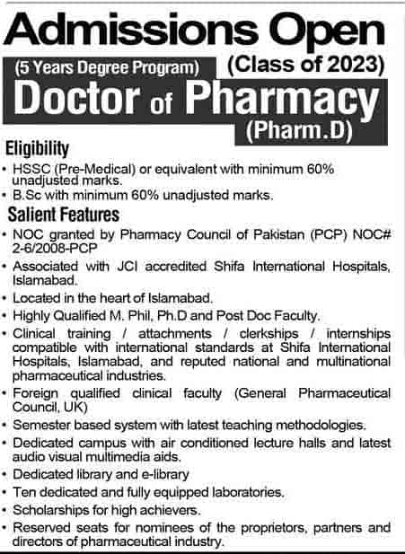 Shifa College of Pharmaceutical Sciences Admission 2018 Fee Structure