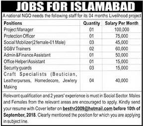 NGO Jobs 2018 in Islamabad Male & Female Salary Packages