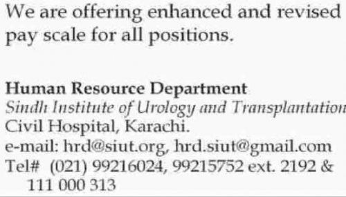 Sindh Institute of Urology & Transplantation Jobs November 2018