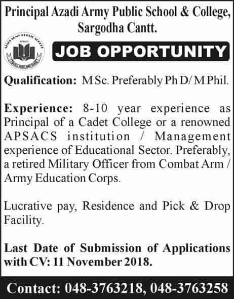 Jobs-in-Army-Public-School-Sargodha