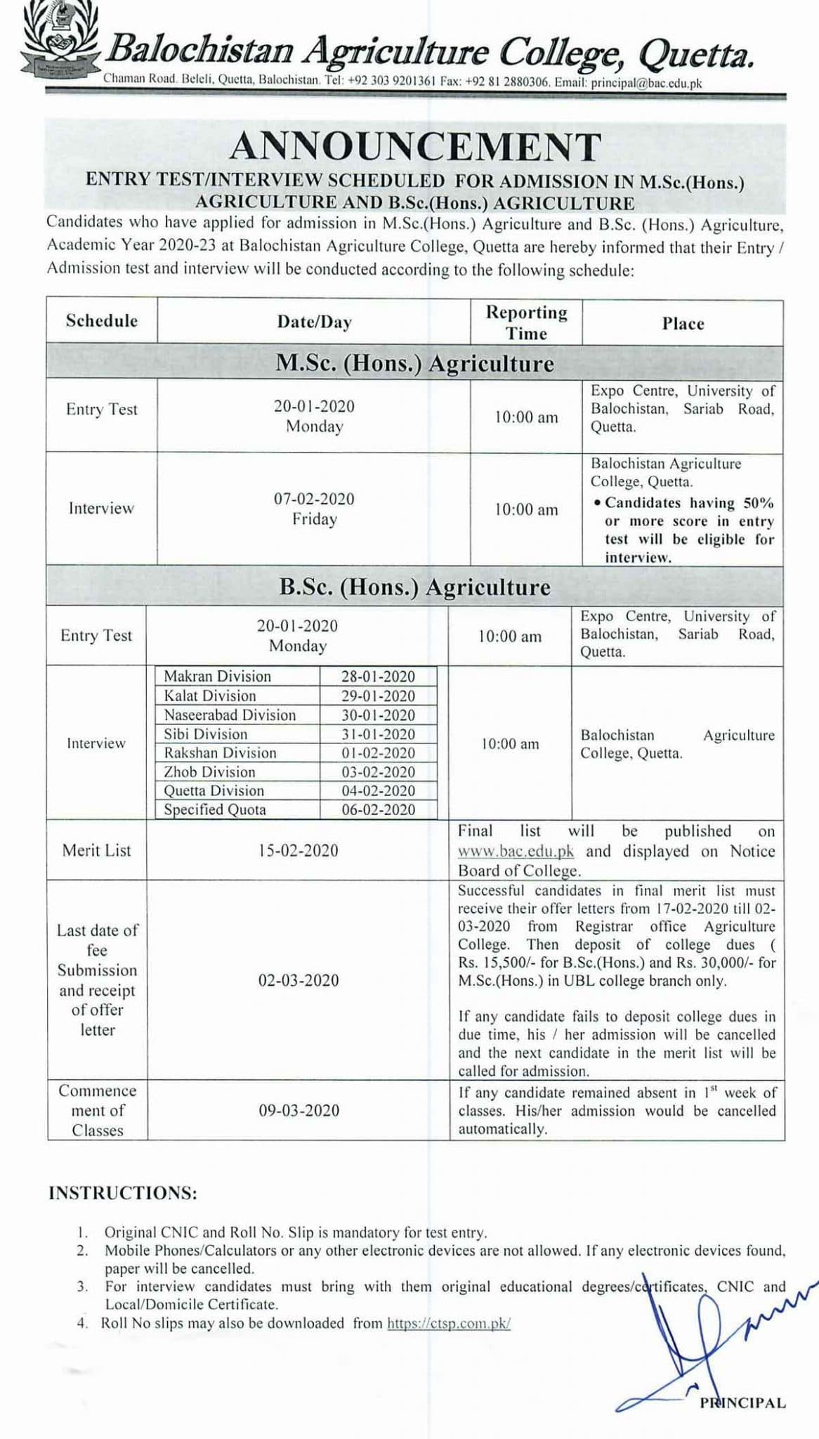 Balochistan-Agriculture-College-Quetta-Admission-2020