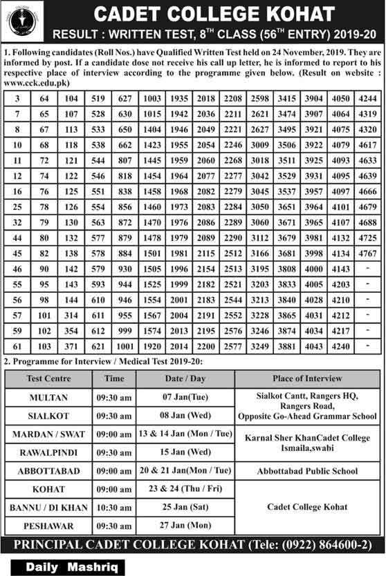 Cadet-College-Kohat-Entry-Test-Result-2020