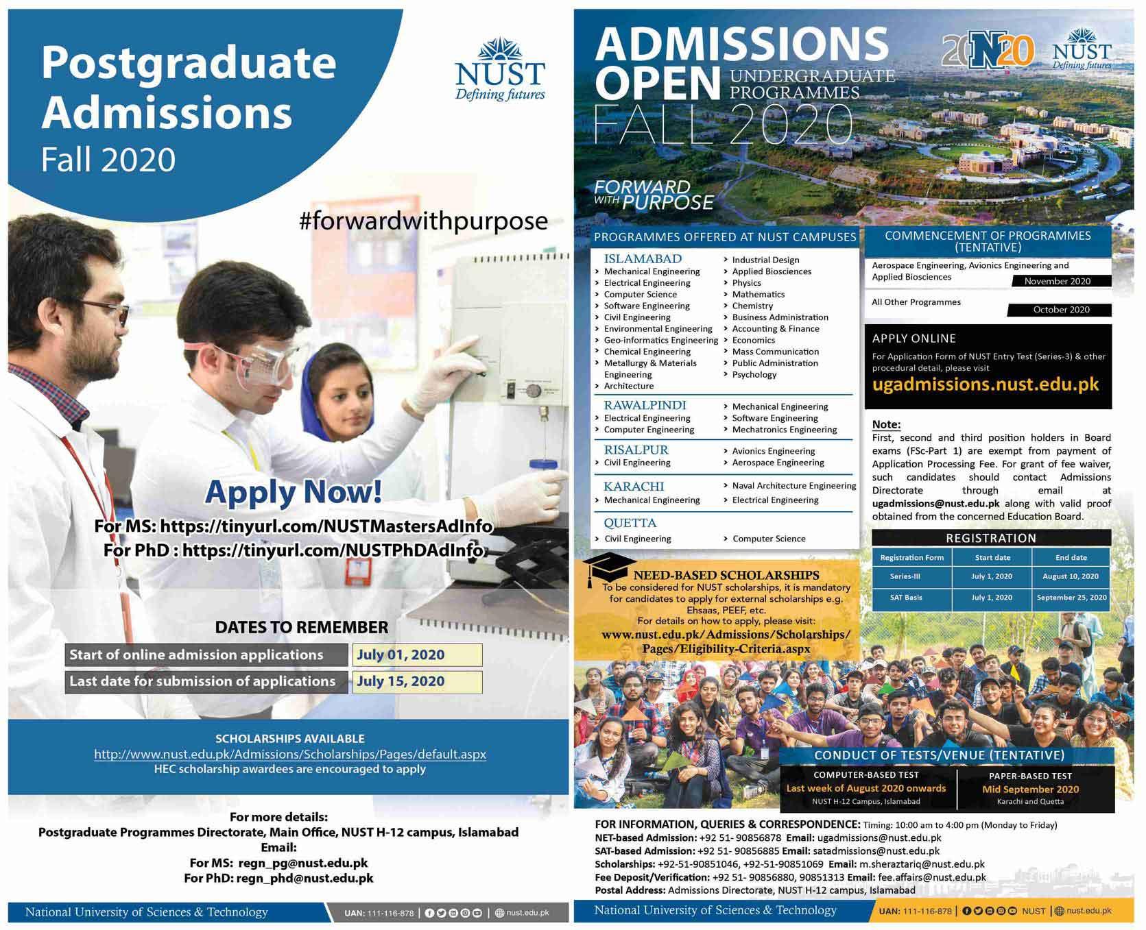 NUST-Admission-2020-Program