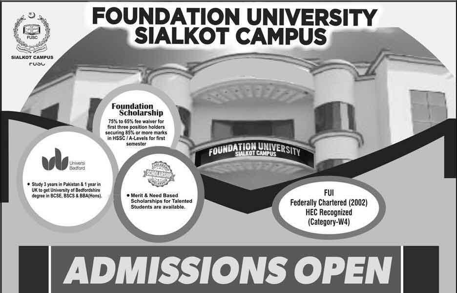 Foundation University Sialkot Admission 2019 Entry Test